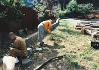 1996 - Working on front of temple retaining wall 3