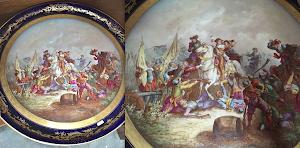 Большая, декоративная тарелка. 19-й век. Франция, Севрская мануфактура. Роспись. Штамп.