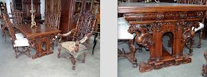 Обеденный стол, два кресла, четыре стула.  19-й век. 160/100/76 см. 6500 евро.