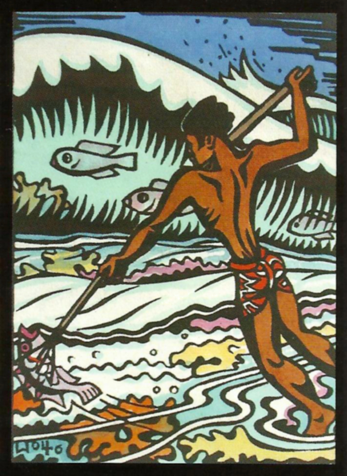 Tahitian spear fisherman, watercolored hand print, 1946, reprinted in the booklet of Jez Lowe - the Parish Notes (Audio-Cd)