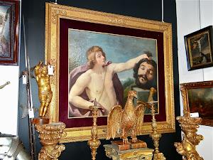 Большая, антикварная картина  17-й век. Холст, масло. 160/150 см. 7900 евро.