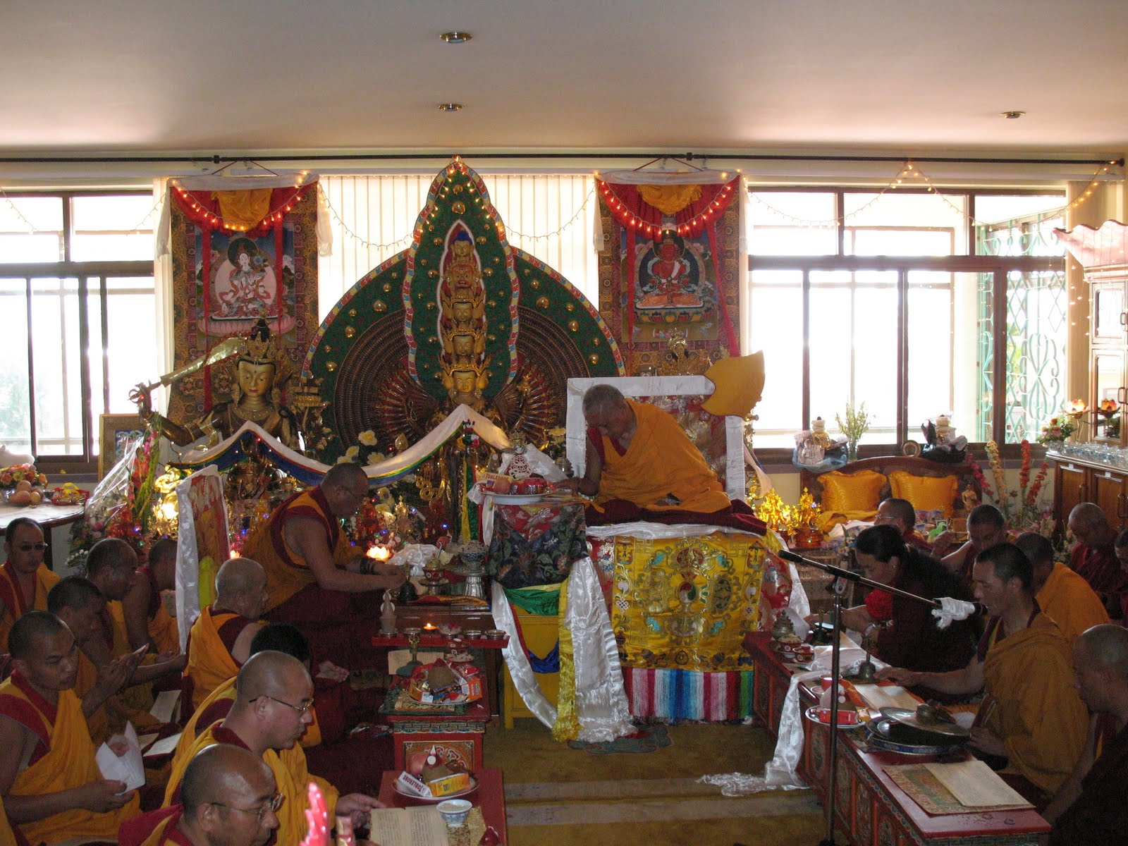 Dagri Rinpoche, Lama Lhundrup, Khadro-la, geshes and monks during special long life puja offered to Lama Zopa Rinpoche, Kopan Monastery, June 2009.