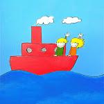 Bep en Bas gaan met de boot