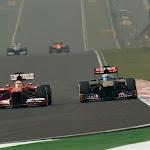 Fernando Alonso (Ferrari) passes Daniel Ricciardo (Toro Rosso)