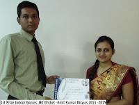 1st Prize Indoor Games ,Hit Wicket -Amit Kumar Biswas 2014 -2015