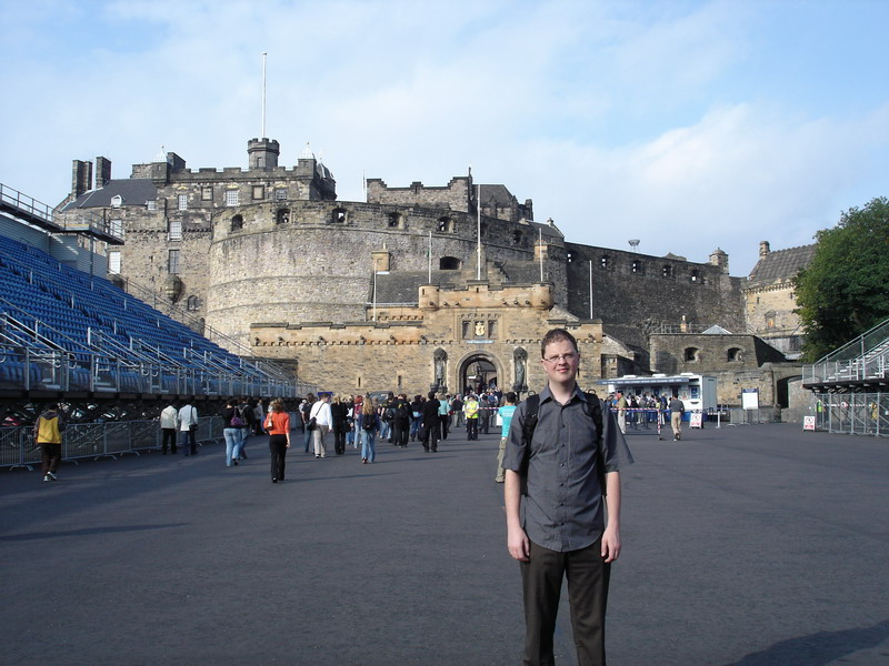 Outside the main entrance with the stands still in place from where the Edinburgh Tattoo was held a few weeks earlier