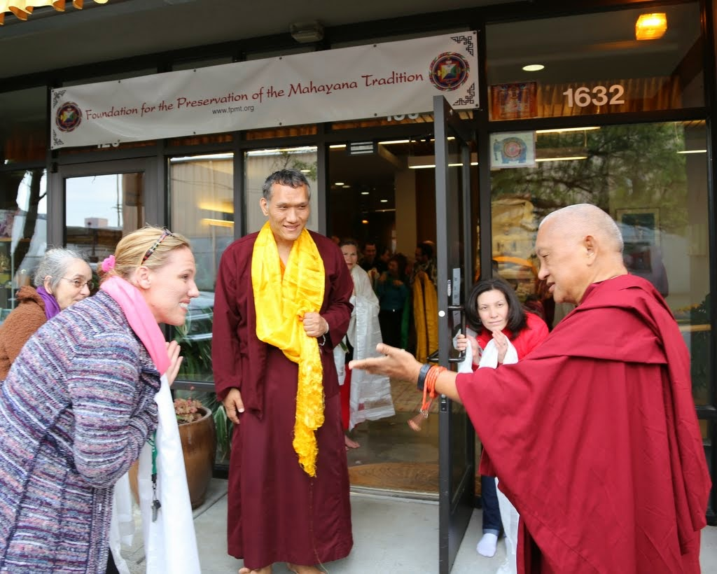Lama Zopa Rinpoche arriving at Maitripa College and FPMT International Office in Portland, Oregon, US, April 2014. Photo by Ven. Thubten Kunsang.