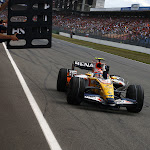 Nelson Piquet Jr, Renault R28 crosses the line to take his first F1 Podium