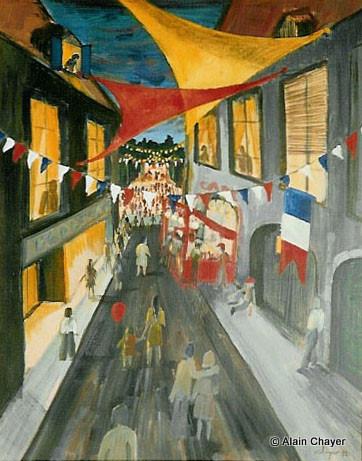 018 - Orthez en Fête - 1992 92 x 73 - Acrylique sur toile