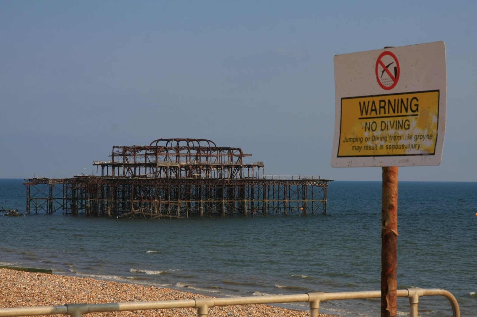 Burned down west pier