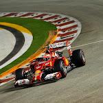 Kimi Raikkonen trying hard in his Ferrari F14T