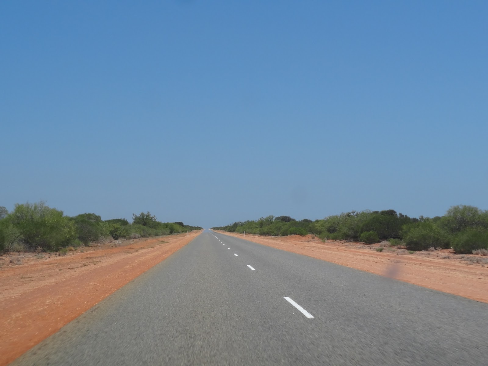 400km of straight road with one town in between