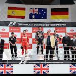 2012 UK F1 GP podium: 1. Webber, 2. Alonso, 3. Vettel