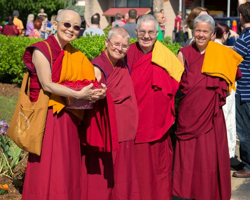 Sangha awaiting Lama Zopa Rinpoche's arrival at Kadampa Center, Raleigh, North Caronlina, US, May 3, 2014. Photo by David Strevel.