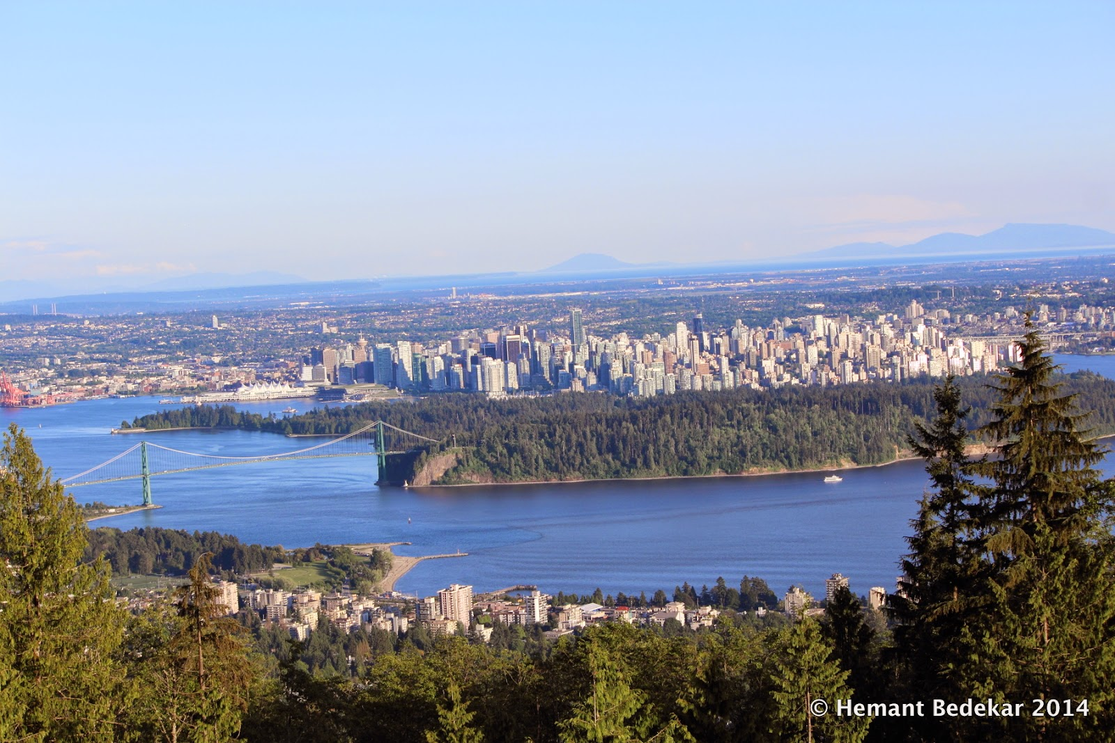 Lions Gate Bridge and downtown Vancouver photographed from Cypress Mountain