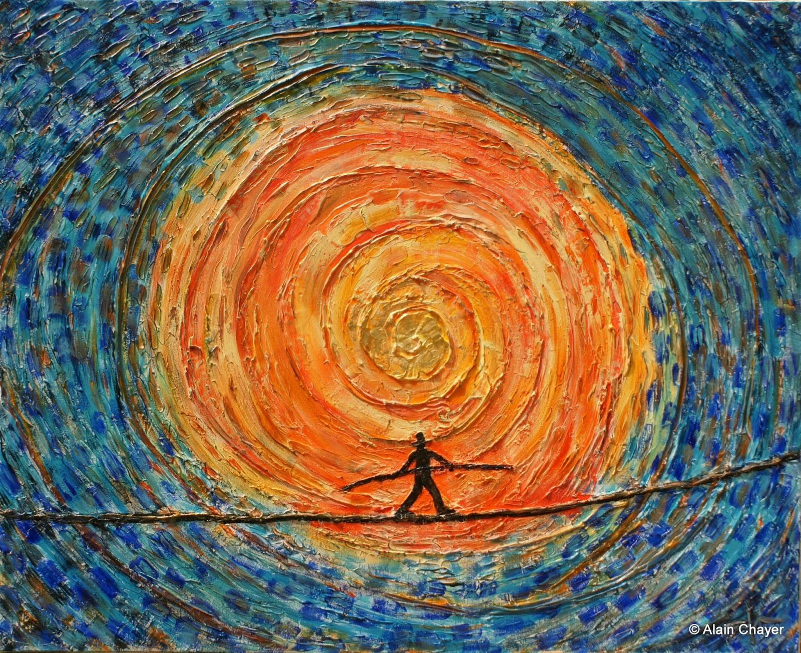 232 - Le Retour du Funambule - 2011100 x 81 - Acrylique, or, sur toile