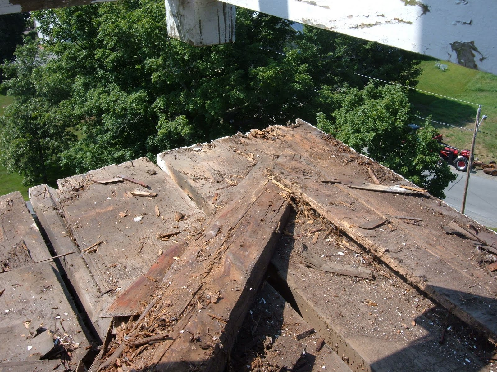 The corner of the bell deck and two of the hip rafters had to be repared.