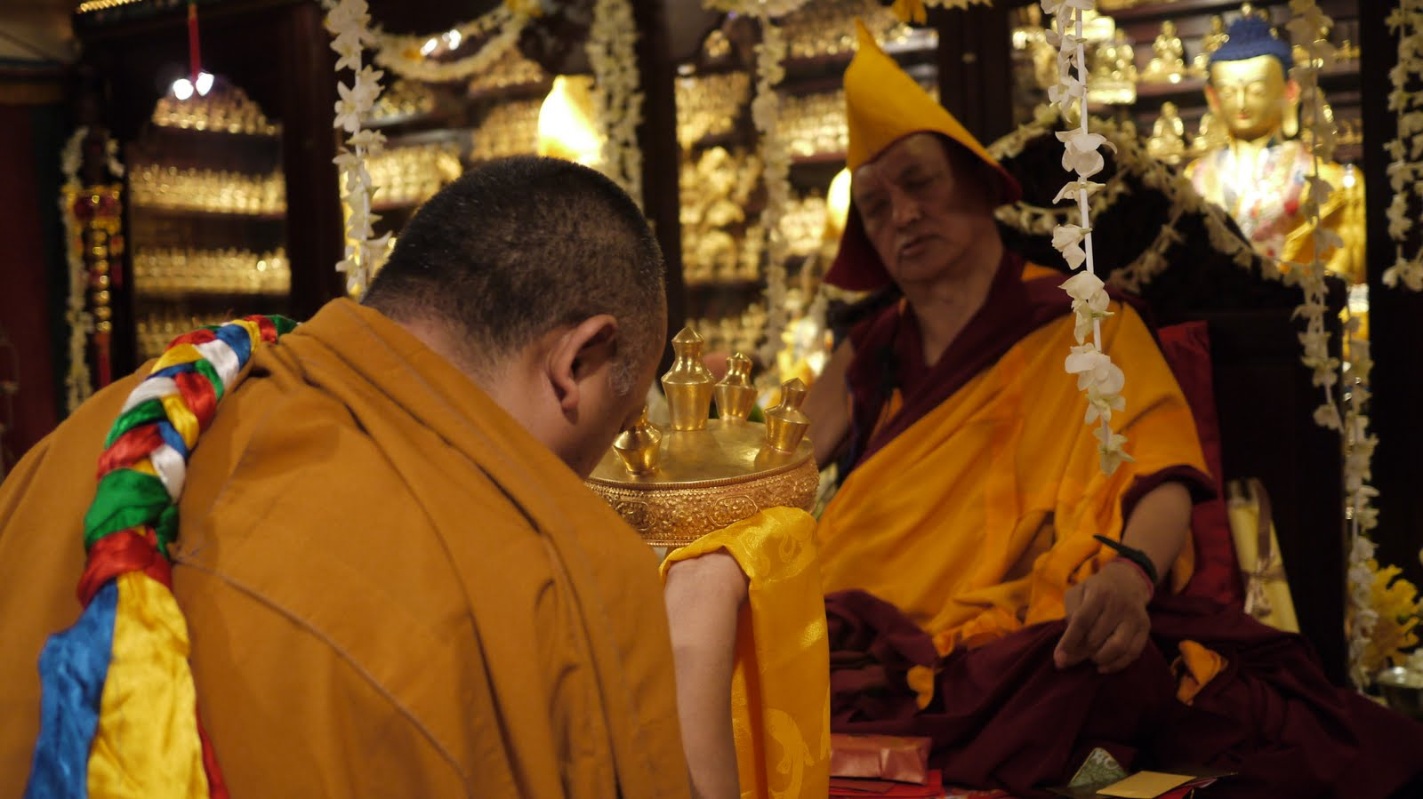 Ven. Pemba offers mandala during long life puja in Hong Kong, 2010.