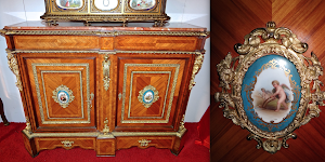 Шикарный антикварный комод с фарфоровыми медальонами. 19-й век. Палисандр, резная позолоченная бронза, расписной фарфор, мраморная крышка. 134/42/102 см. 13000 евро.