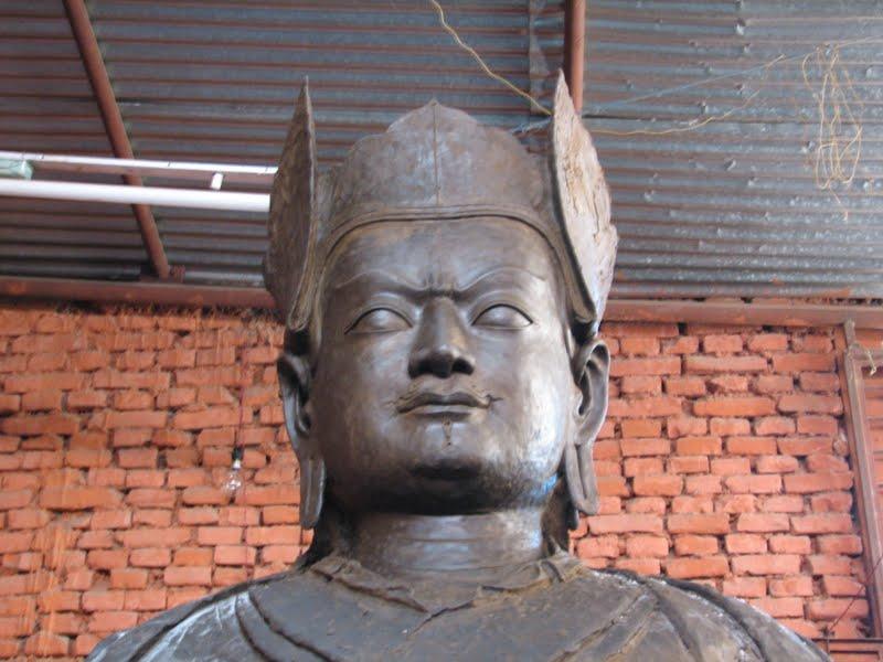 The making of  a large statue of Padmasambhava in Bhutan