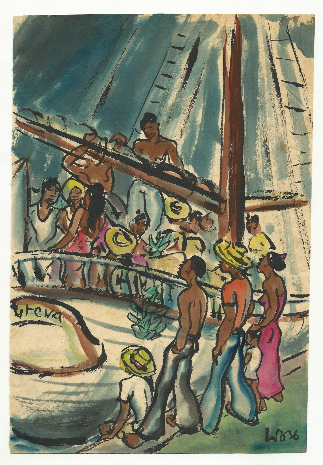 At the pier, watercolor on paper, 1936, family-owned