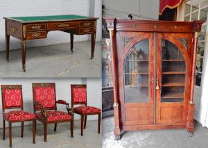 Кабинет в стиле АМПИР. ок.1840 г. Шкаф, письменный стол, кресло, два стула. Выполнены из красного дерева. Резная бронза, шёлк, сукно. Стол 147/74/75 см. Шкаф 110/50/250 см. 15000 евро.