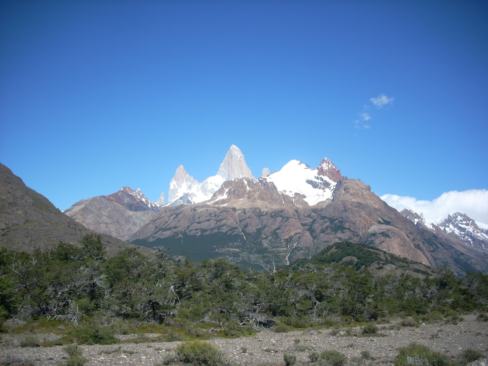 Rare clear view of Mt Fitzroy. Too steep for snow to stick to it.