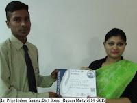 1st Prize Indoor Games ,Dart Board -Rupam Maity 2014 -2015