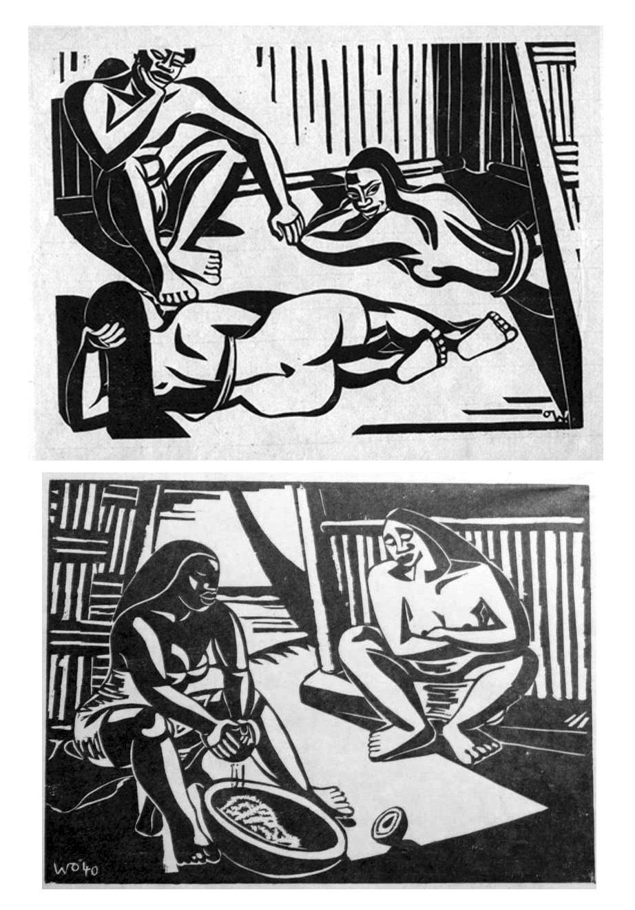 Reclining nudes (top, undated) and Poisson Cru (1940), linocuts