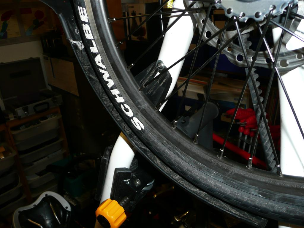 """Standard Mudguards on 18"""" wheels  Use a washer over the top mudguard screw so that the screws clamp at the bottom of the mudguard fixing slots (rather than at the top, as normal).  then (if necessary) used a hair dryer to heat up and bend any low parts of the mudguards so that they did not rub on the tyre."""