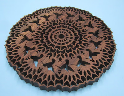 HUMMINGBIRD TRIVET Pattern by Charles Hand 9.87 x 3/6 Black Walnut