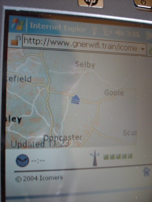Free wifi on the GNER train back to London that allowed you to see the position of the train on a map