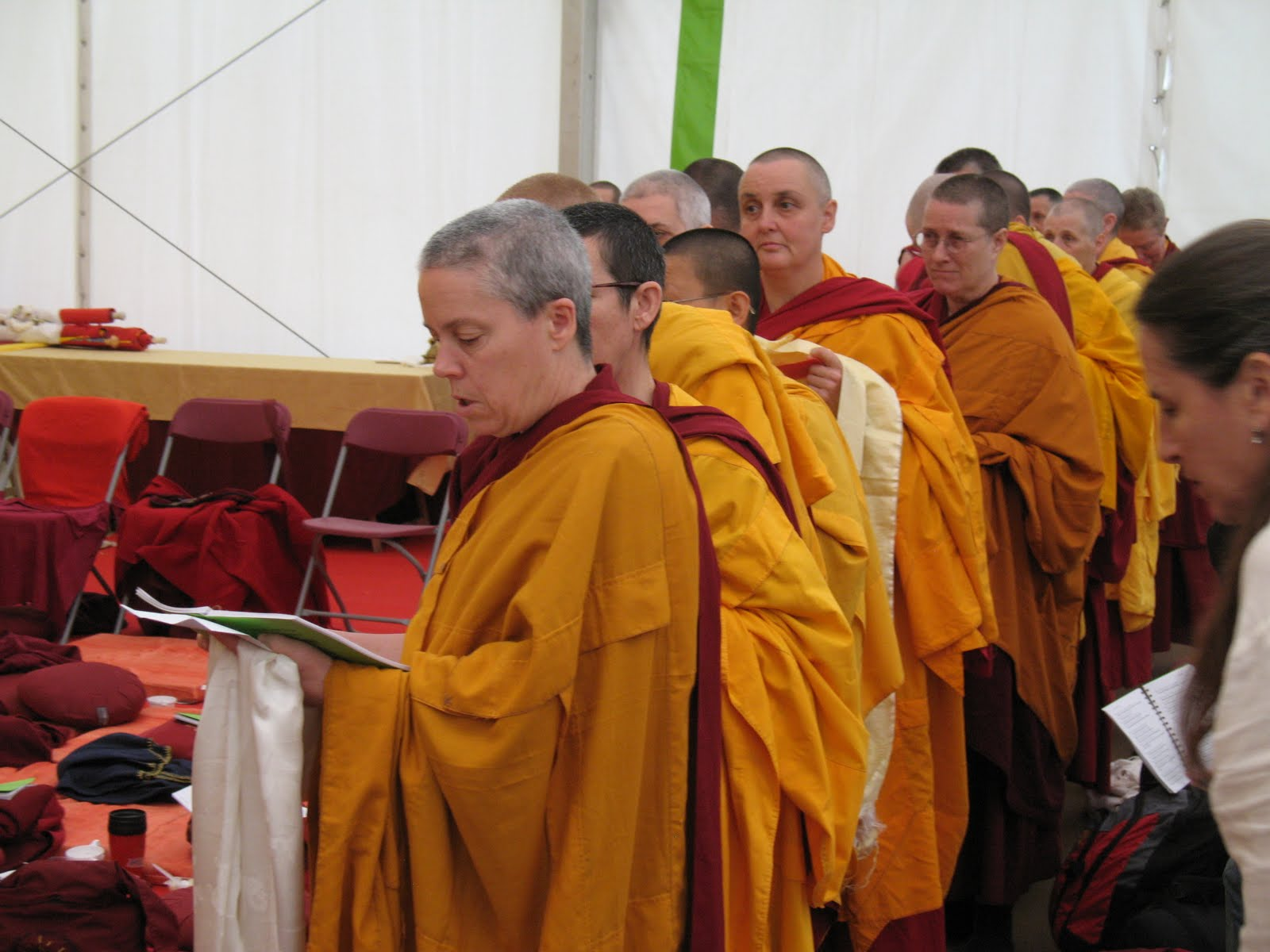 Ven. Joan and sangha during long Life puja offered to Lama Zopa Rinpoche after the CPMT Meeting at Institut Vajra Yogini, France, May 2009.