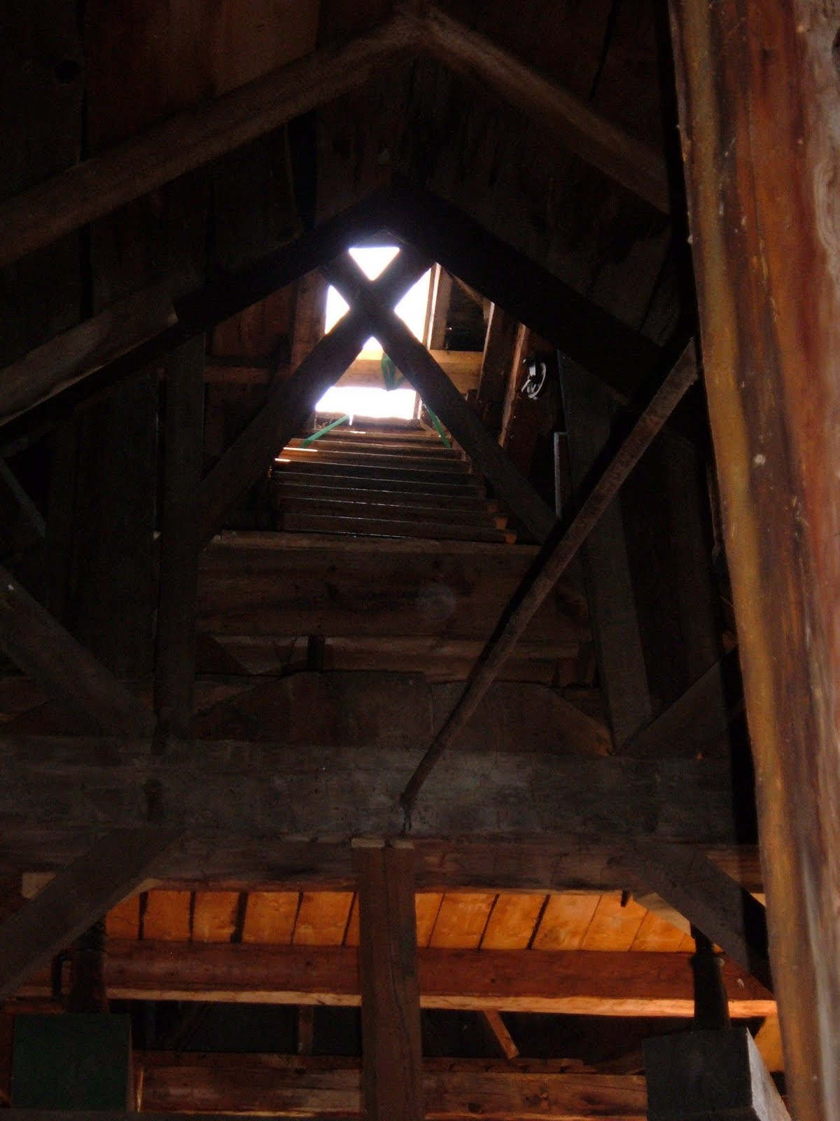 The view from the attic up to the bell deck.