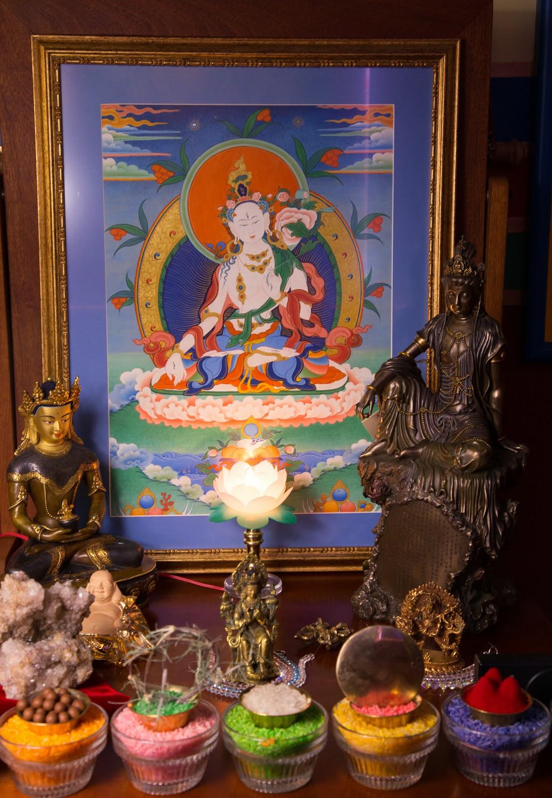 White Tara altar. Photo by Ven. Thubten Kunsang.