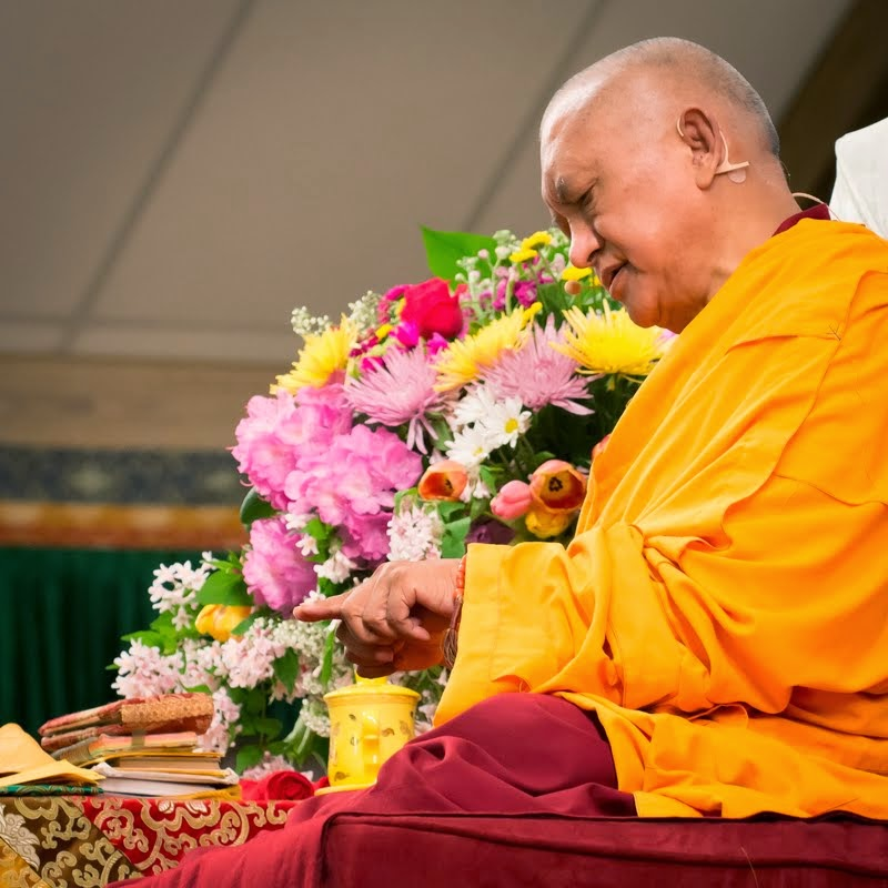 Lama Zopa Rinpoche teaching, Light of the Path, May 2014. Photo by Roy Harvey.