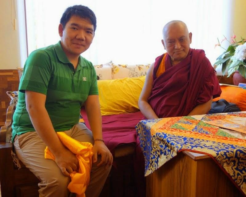 Lama Zopa RinpochemeetingwithSerkongTsenshabRinpoche, SeraJeMonastery, India, January2014. Photo byVen. RogerKunsang.