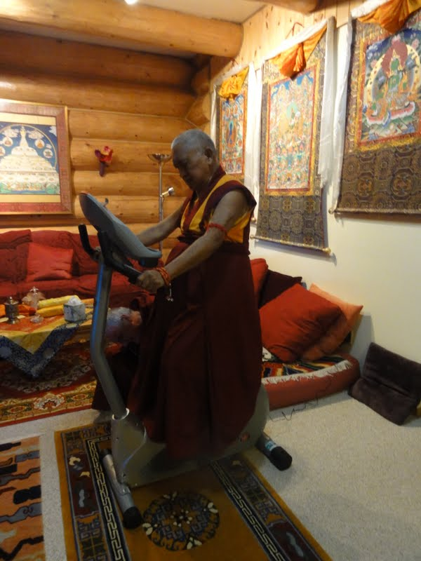Rinpoche exercising