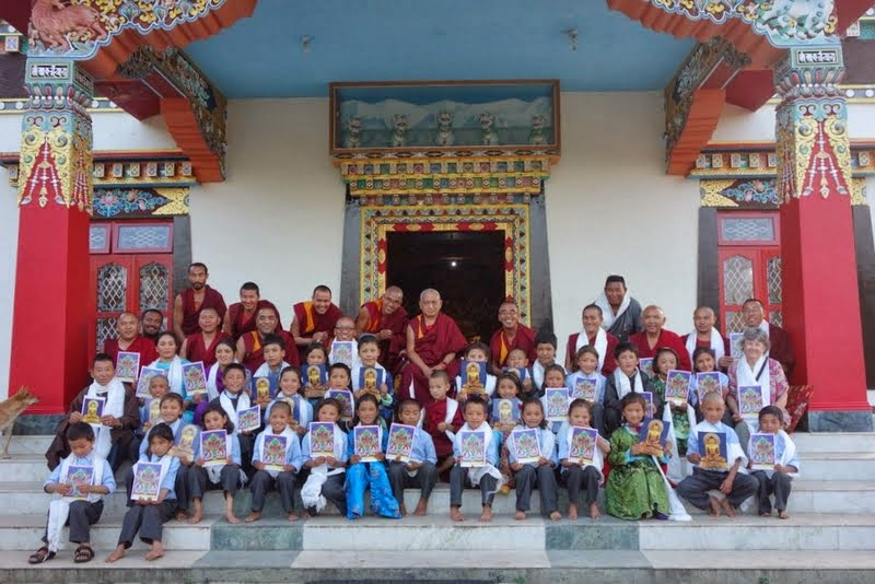 Lama Zopa Rinpoche with the children from the Ngari Institute of Buddhist Dialectics, Sera Monastery, India, January 2014. Photo by Ven. Roger Kunsang.