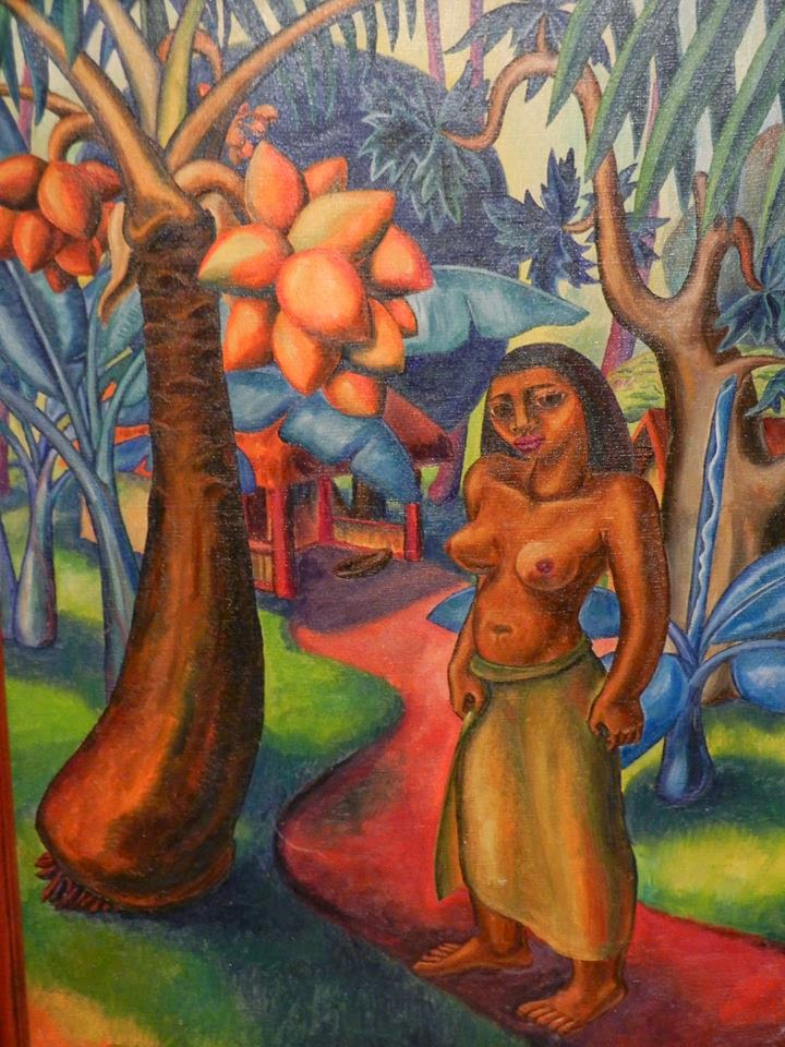 Tahitian woman in colorful jungle scape, oil painting