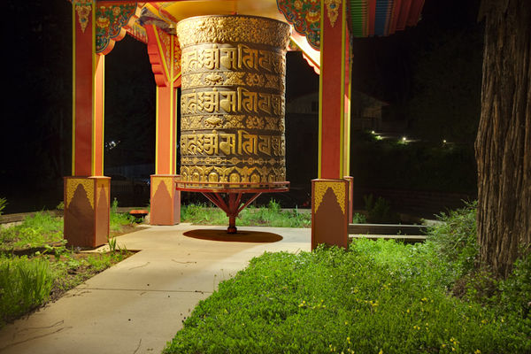 Large prayer wheel at Land of Medicine Buddha.
