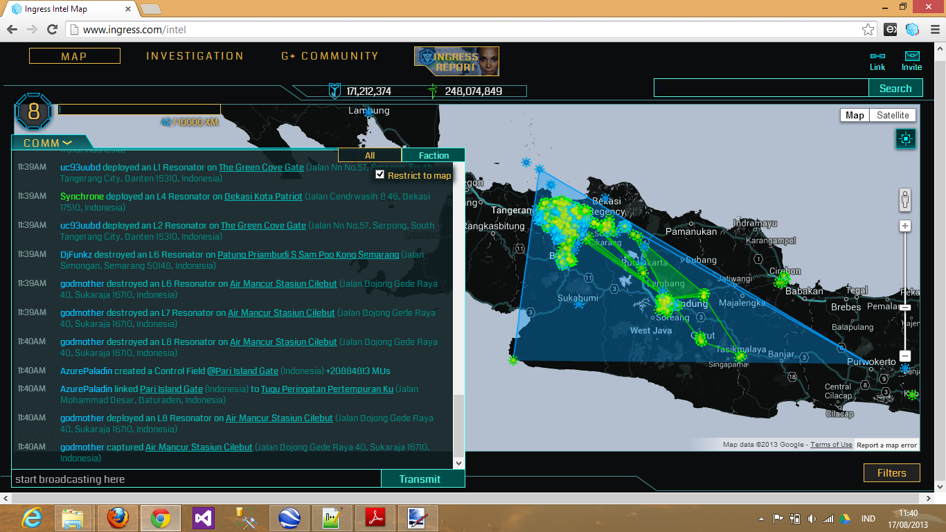 AzurePaladin linked PariIslandGate to Tugu Peringatan Pertempuran Ku, creating control field with 20884813 MUs