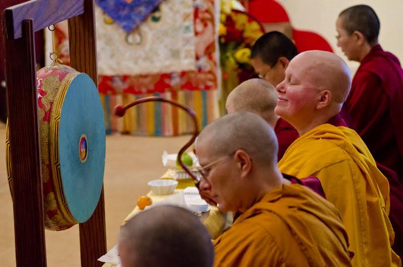 Sangha at puja at Land of Medicine Buddha