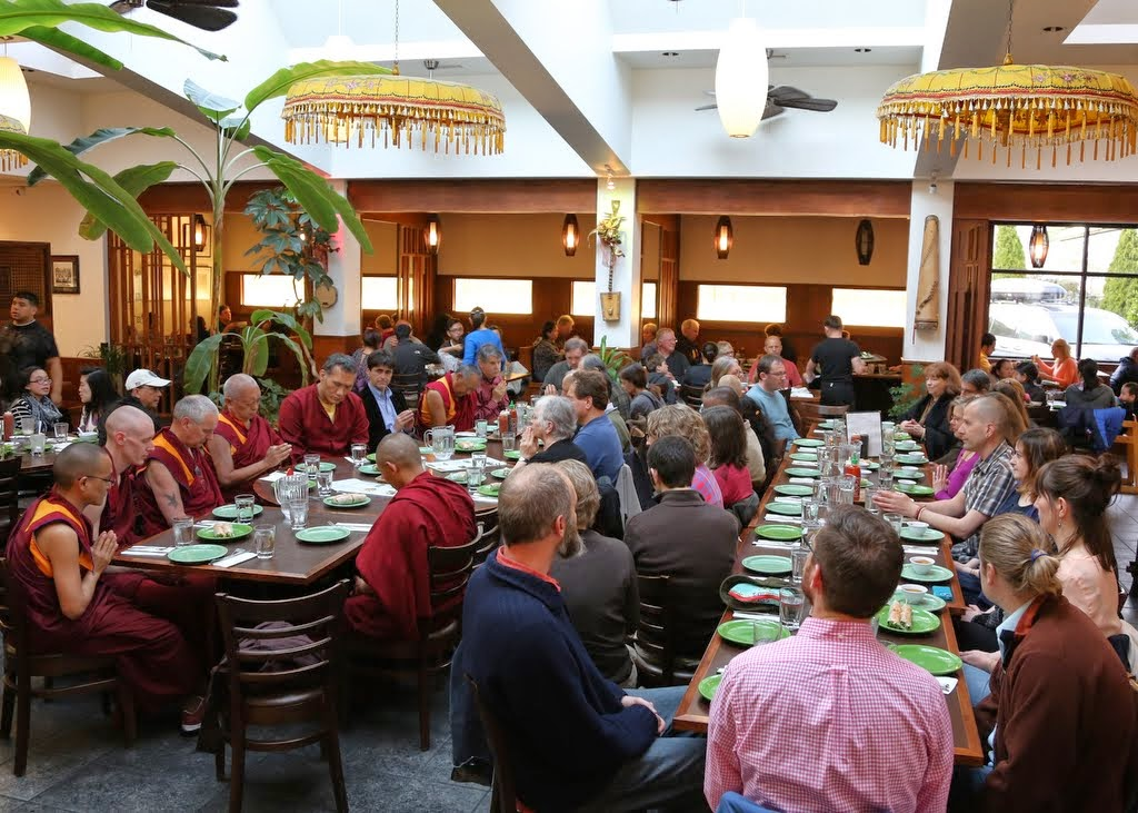 Lama Zopa Rinpoche offering food at dinner with FPMT Board of Directors, staff of FPMT International Office and Maitripa College, and friends, Portland, Oregon, US, April 2014.