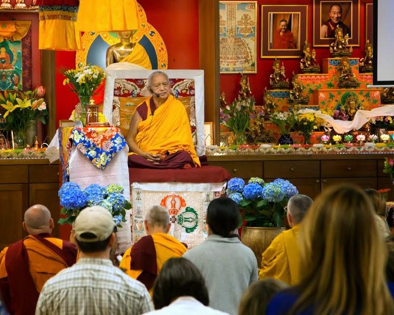 Lama Zopa Rinpoche teaching at Kadampa Center, Raleigh, North Carolina, US, May 3, 2014. Photo by David Strevel.