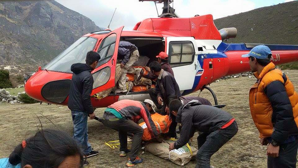 Helicopters bringing food supplies to families in Solu Khumbu. Photo by Charok Lama.