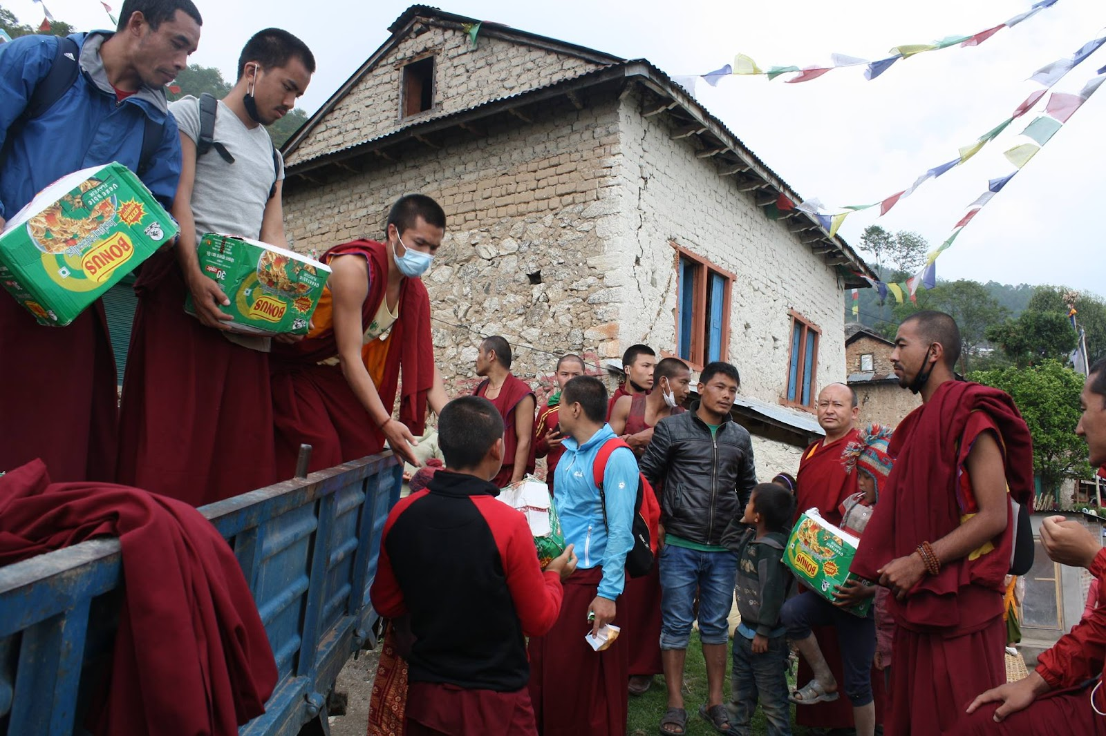 Essential aid being distributed.