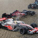 Crashing F1 cars everywhere because of very wet conditions