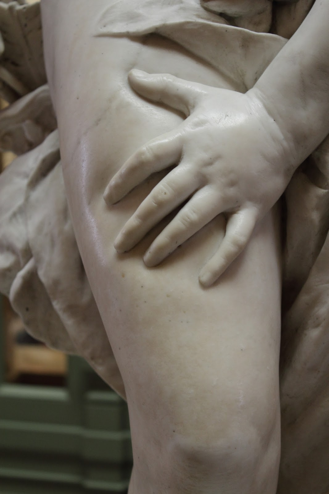 I did not notice until the Tour Guide pointed out - the marble statue actually shows the depression caused by the pressure of Cupid's hand. Impressive!