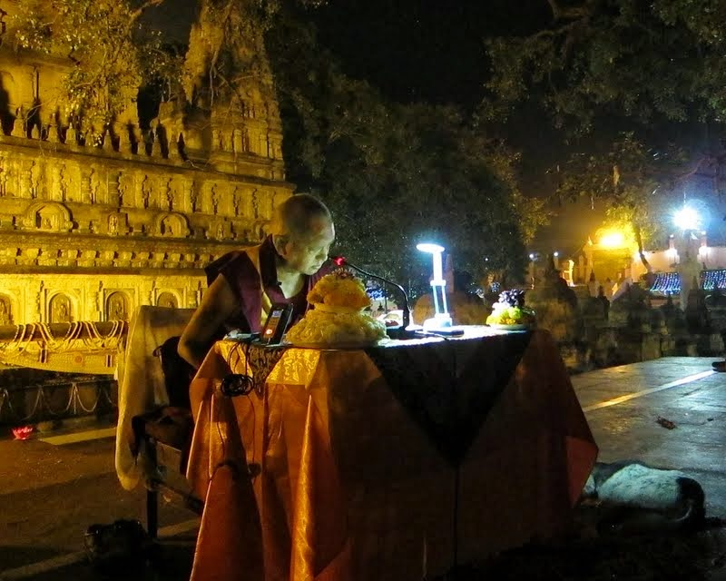 Lama Zopa Rinpoche giving oral transmission of Sutra of Golden Light at Mahabodhi Stupa, Bodhgaya, India, March 2014. Photo by Ven. Sarah Thresher.